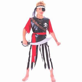 Boys Pirate King Child Halloween Costume Shirt Pants Waist Sash Headband