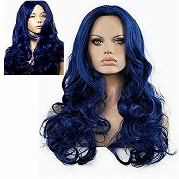 Diy-Wig Long Curly Blue Wig for Women Body Wavy Center Party