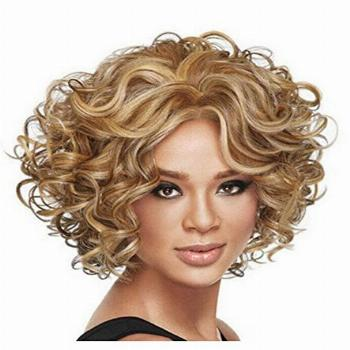 Diy-Wig Short Blonde Curly Wavy Wig for Women Synthetic