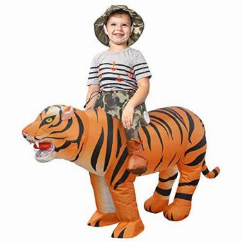 GOOSH Child Size Inflatable Tiger Costume Blow Up Kid Riding