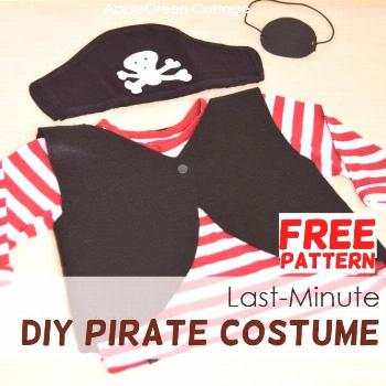 Here's everything you need to make an easy homemade pirate costume for kids' - free pirate pattern