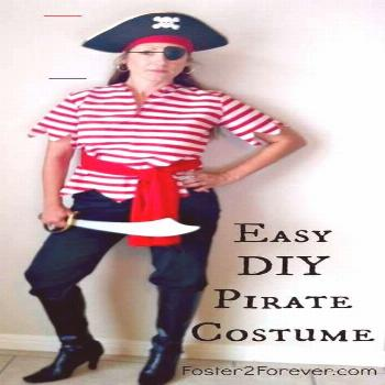 Our Disney Cruise Pirate Night Costumes - Foster2Forever Here is a cute DIY homemade pirate costume