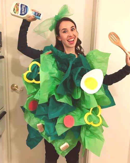 Salad Costume with Green Tissue Paper. Quick amp Easy Church Halloween Costumes. Ideas for trunk or t