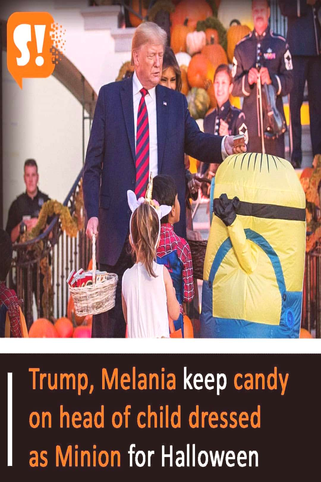 Trump, Melania keep candy on head of child dressed as Minion for